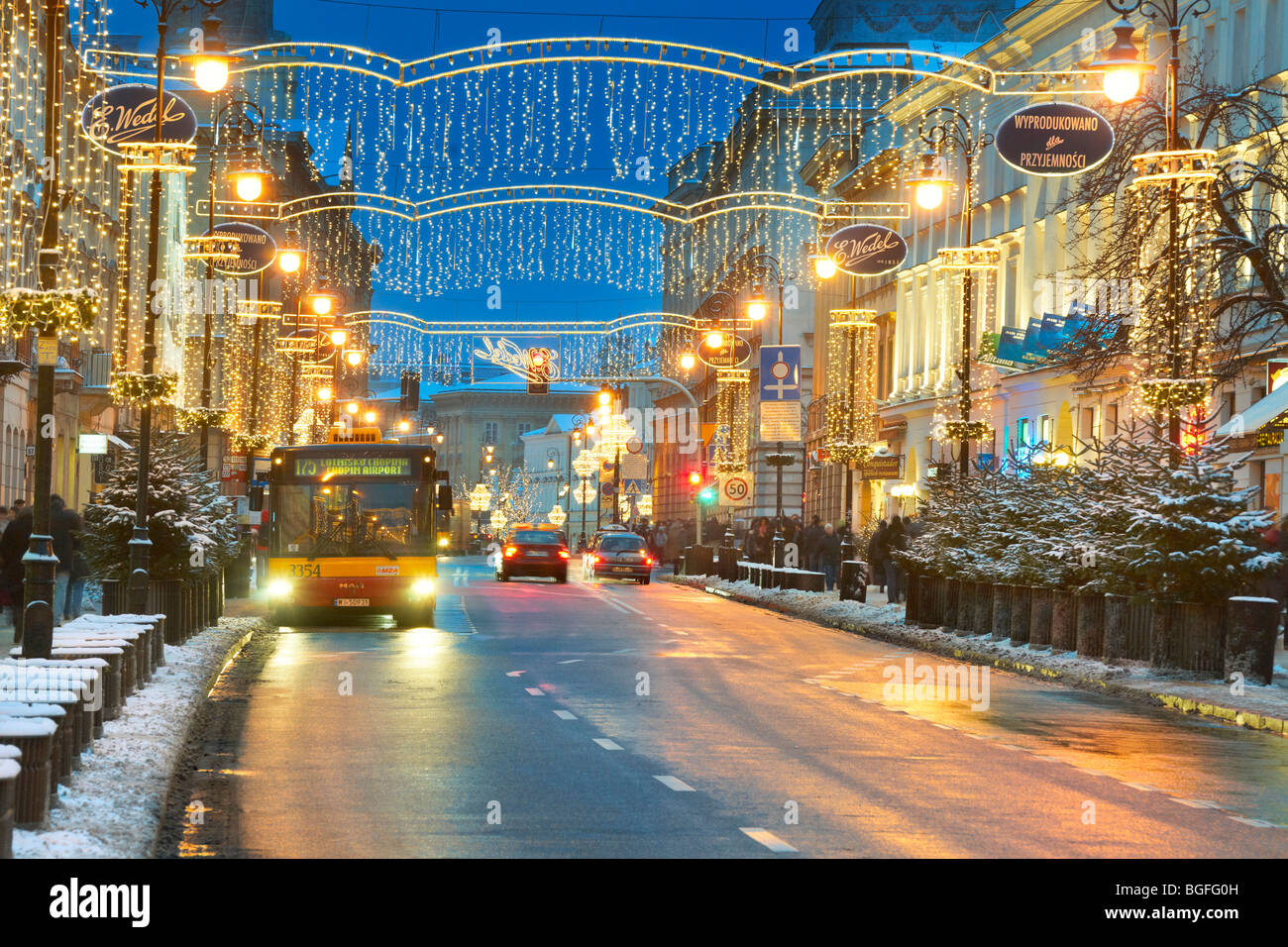 Christmas decorations outdoors, Old Town Warsaw, Poland Stock Photo ...