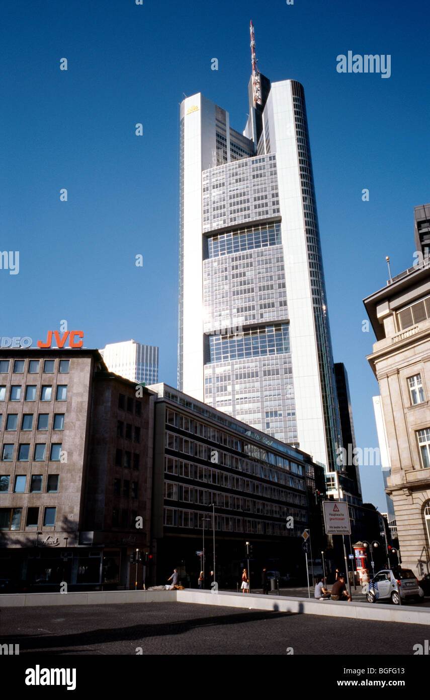 Aug 7, 2009 - View of Commerzbank tower in the German city of Frankfurt. Stock Photo
