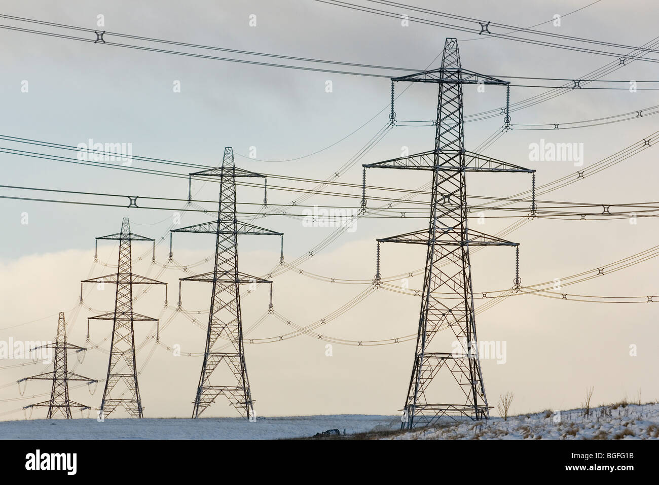 Electricity pylons near to Baitings reservoir, in Ripponden, Calderdale, West Yorkshire, UK - Stock Image