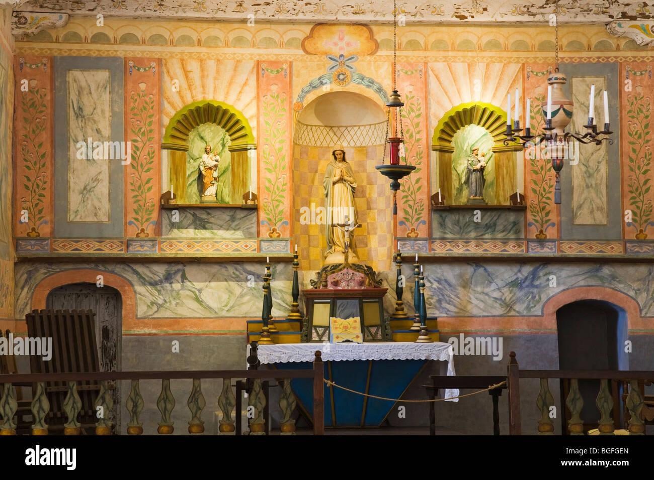 Church Alter, La Purisima Mission State Historic Park, Lompoc, Santa Barbara County, Central California, USA - Stock Image