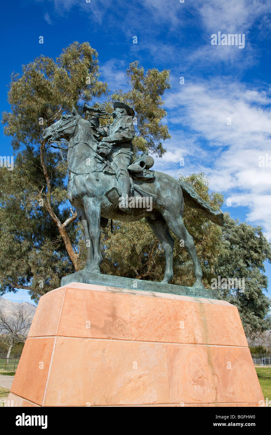 ' The Chief Trumpeter ' by Dan Bates, Fort Lowell Park Historical Museum, Tucson, Arizona, USA - Stock Image