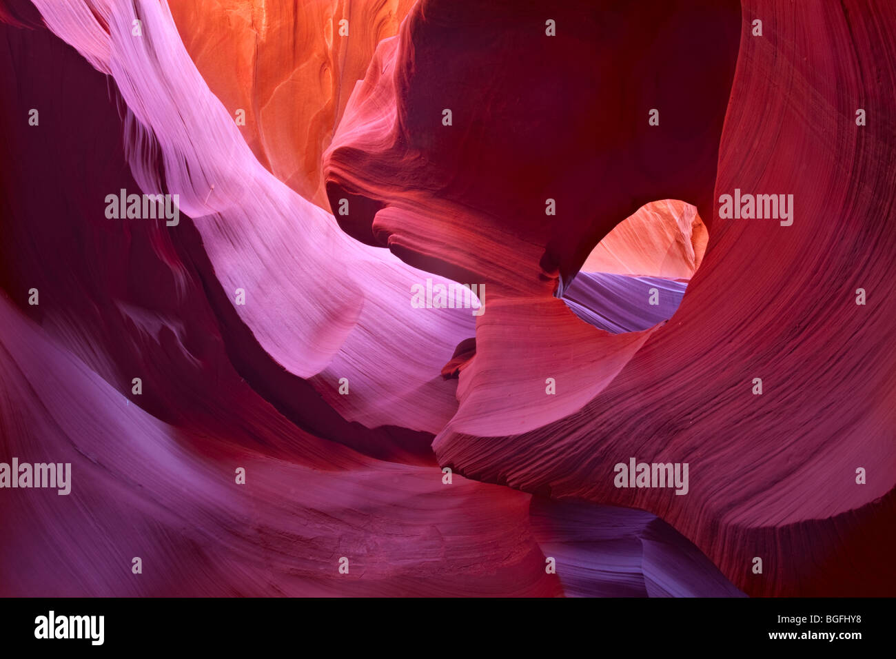 lower antelope slot canyon hole in the rock formation in page arizona - Stock Image