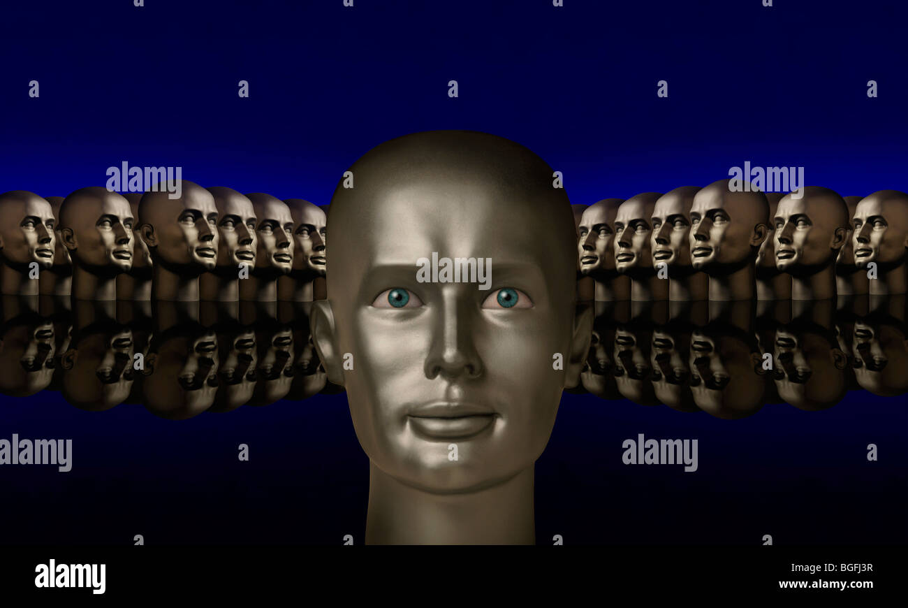 Silver mannaquin head flanked by two groups of heads opposite one another on a reflective black surface with a blue - Stock Image