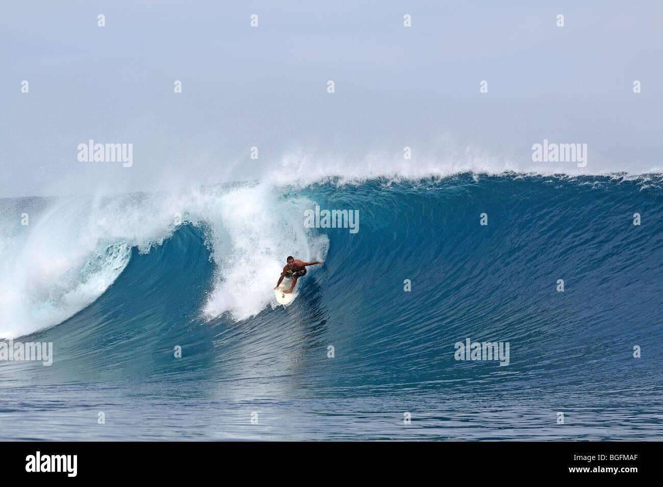 Surfing a large wave. Mentawai Islands, Sumatra, Indonesia, Southeast Asia, Asia - Stock Image