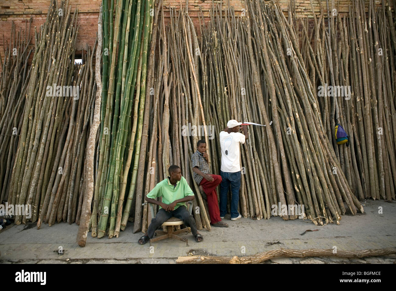 Fresh cut lumber for sale at market in Gonaives, Artibonite Department, Haiti - Stock Image