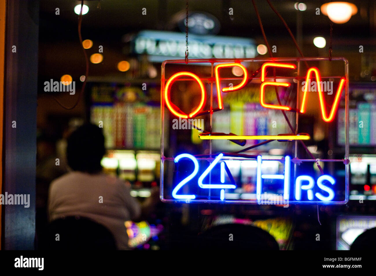 Open 24 Hours Neon Sign In A Casino Window In Deadwood South Stock Photo Alamy
