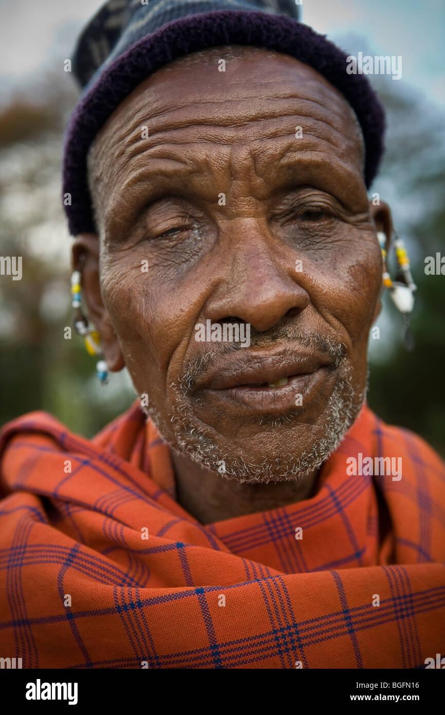 A Maasai elder, Kilimanjaro Region, Tanzania. - Stock Image