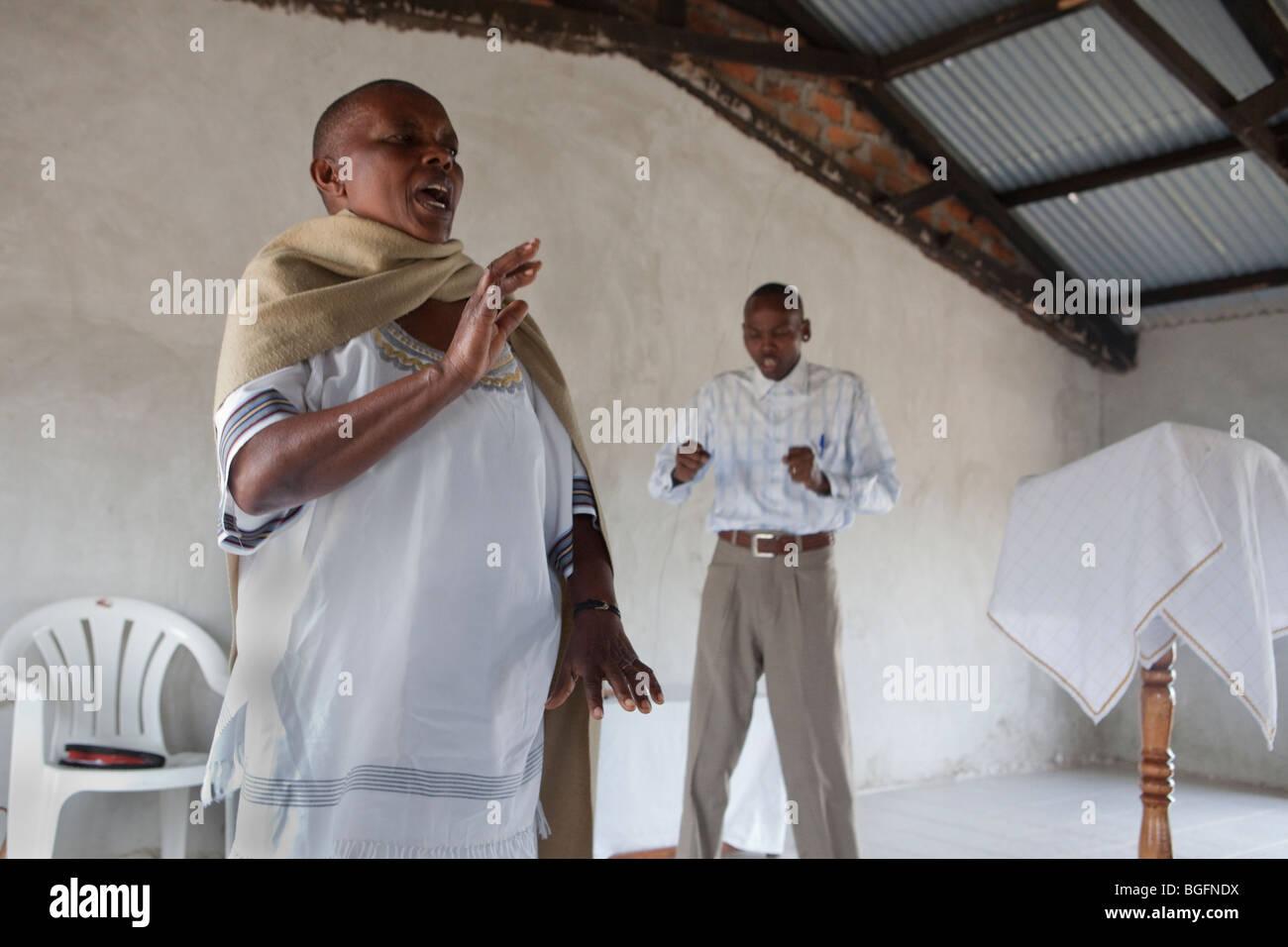 Pentecostal church service, Kilimanjaro Region, Tanzania, East Africa. - Stock Image