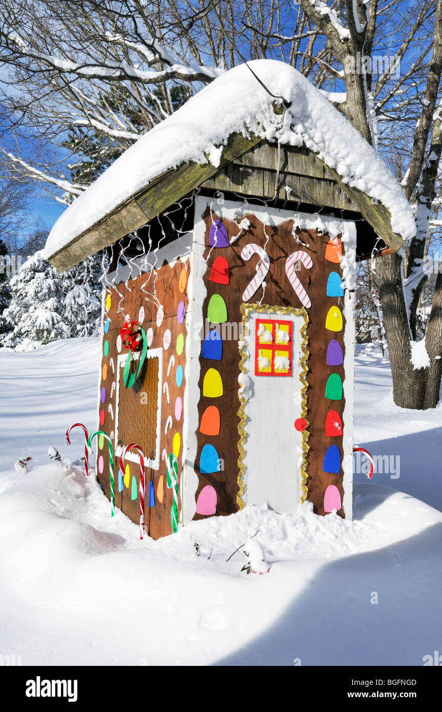 Christmas Gingerbread House Decoration In Winter Snow On A Sunny