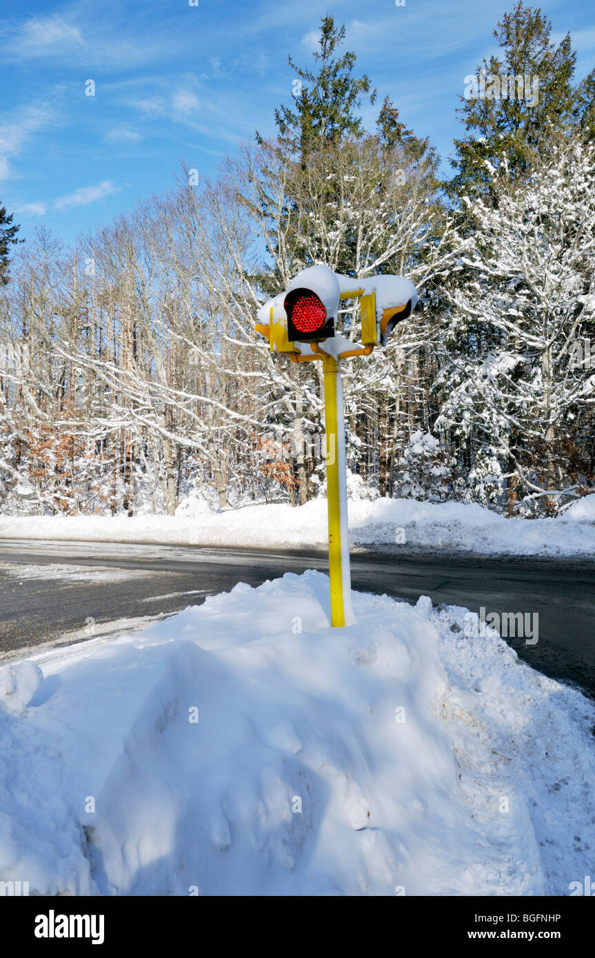 Red stop light in a snow bank on snowy winter road - Stock Image
