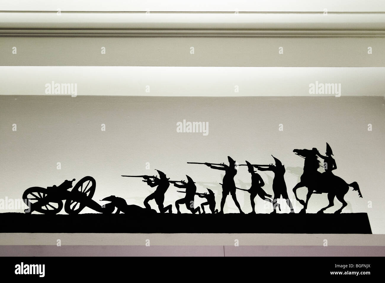 Metal silhouettes in the wall niches of the Department of Interior Museum, Washington, DC. Stock Photo