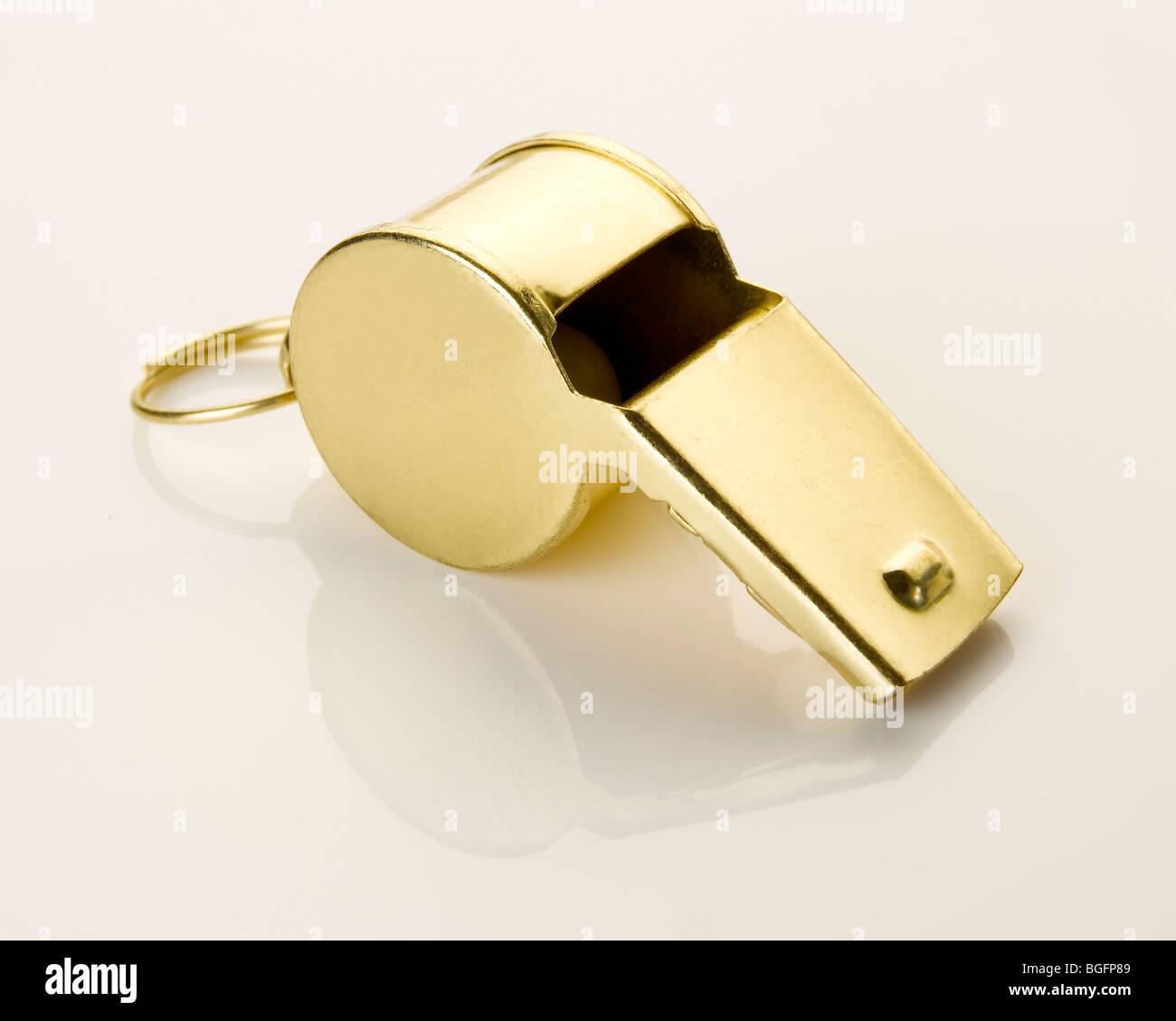 Gold sports whistle Stock Photo