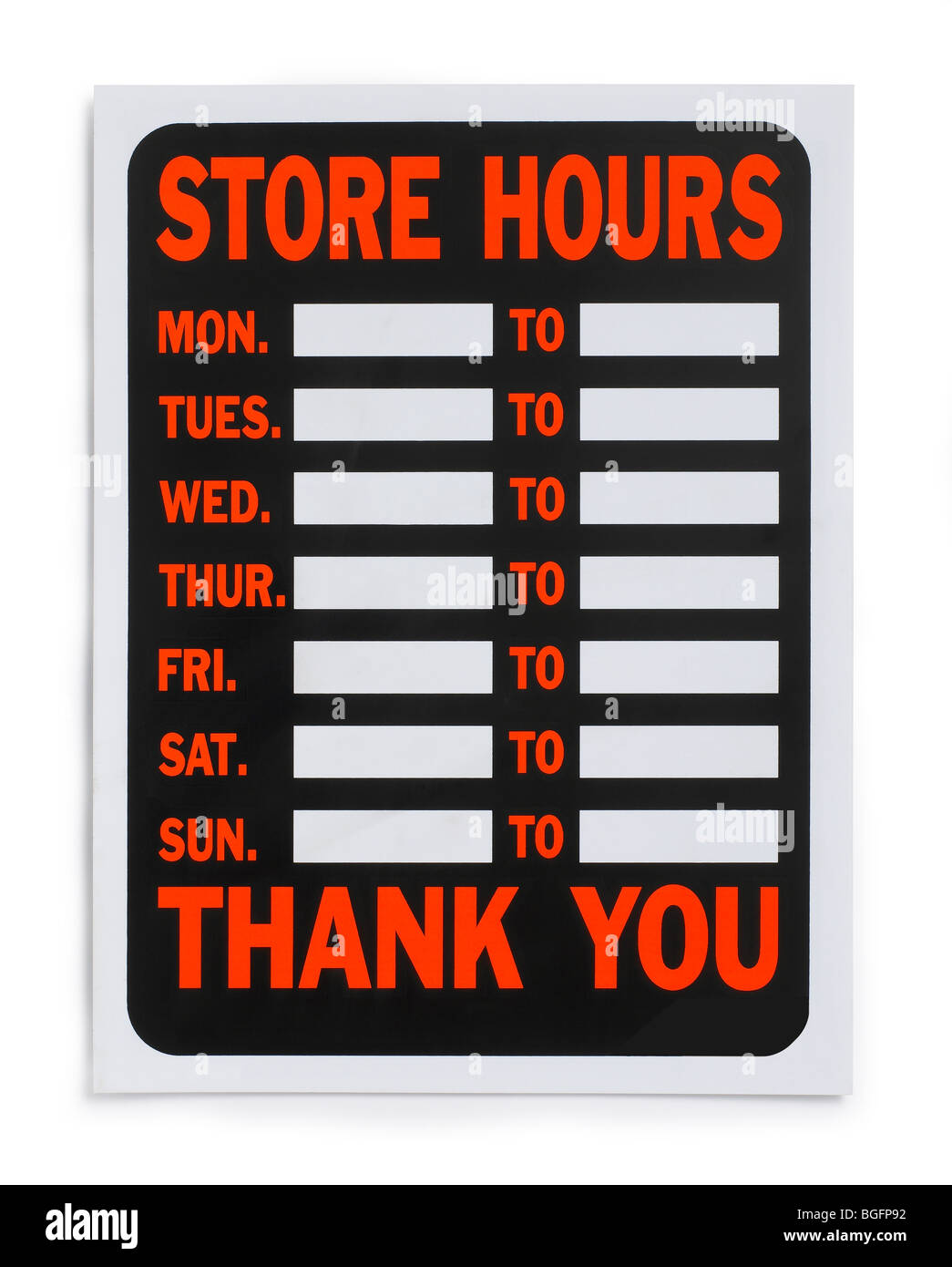 Store Hours Sign - Stock Image