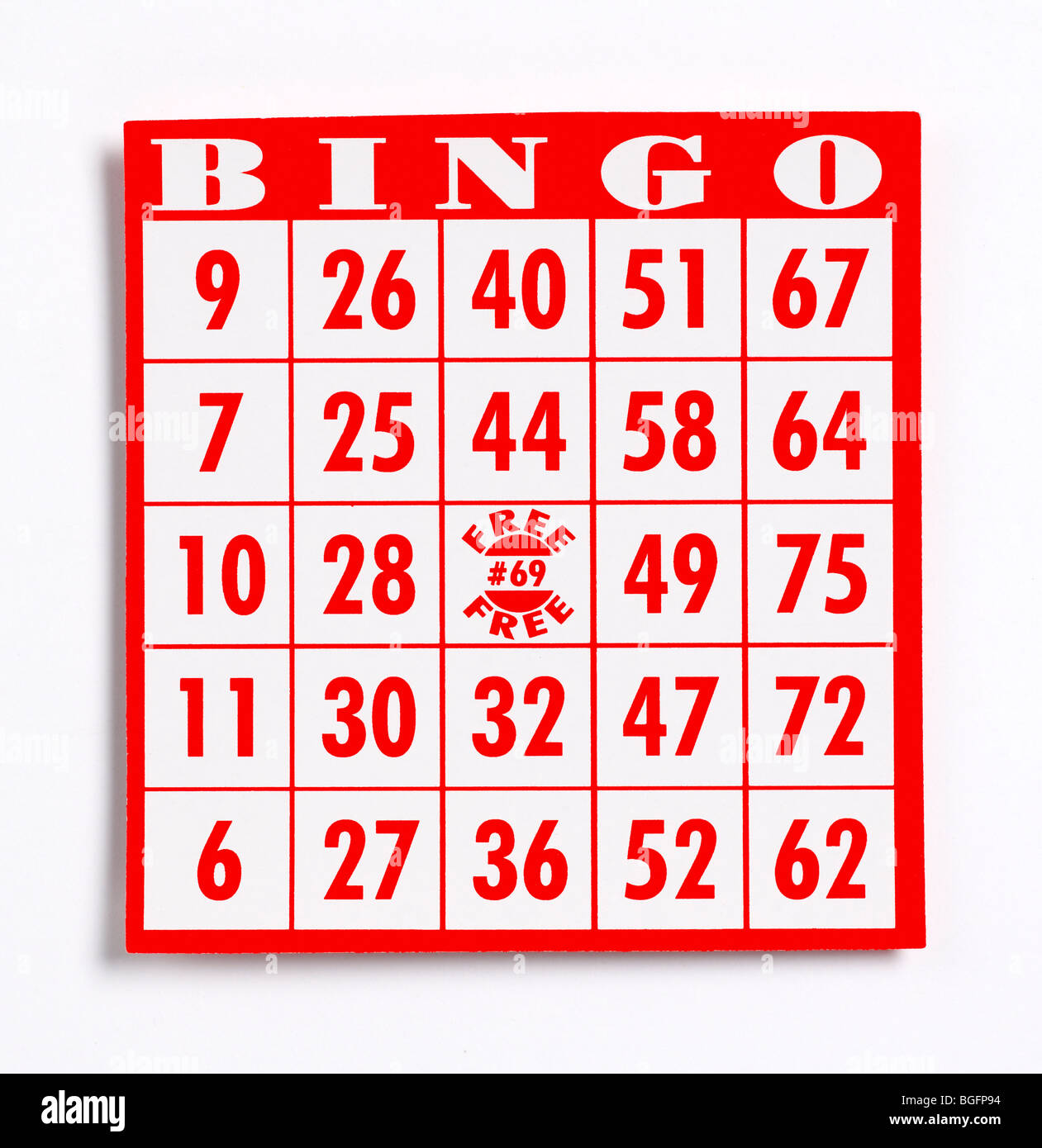 Bingo Game Card - Stock Image