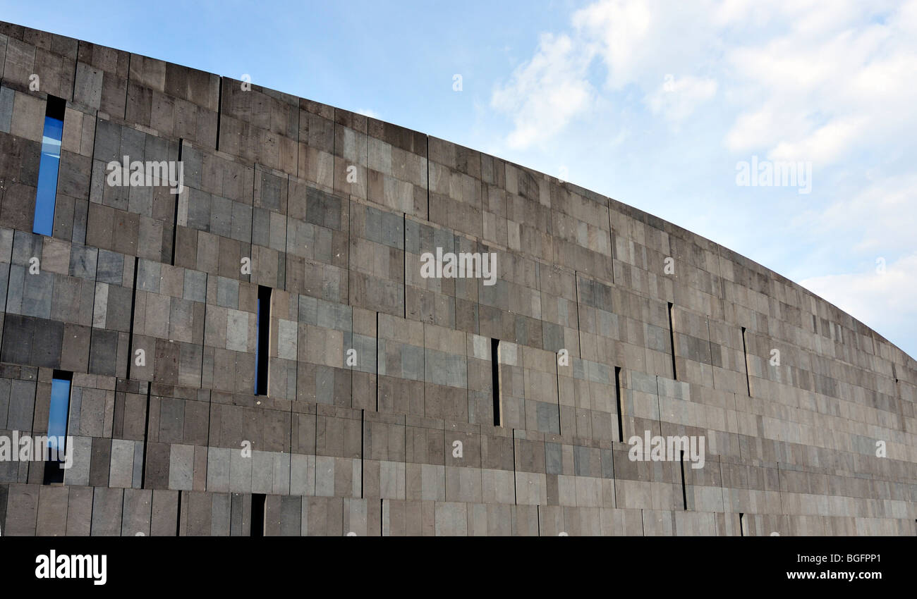 Basalt-lava Stone Facade of MUMOK (Museum Moderner Kunst or Museum of Modern Art) Builidng at MuseumsQuartier in - Stock Image