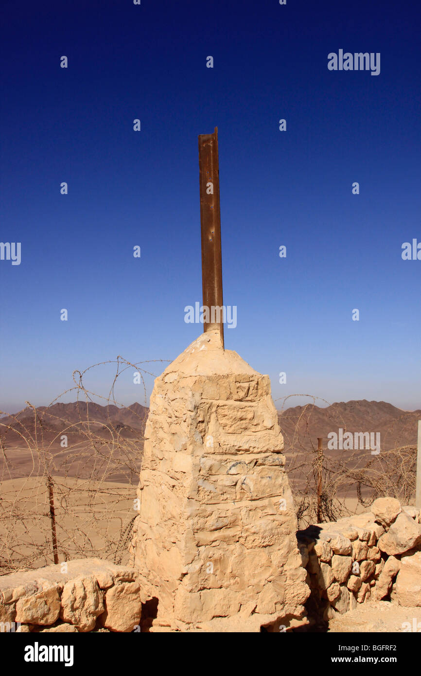 Israel, Negev, a British boundary stone on the Egyptian-Israeli border (Kilometer 82) - Stock Image