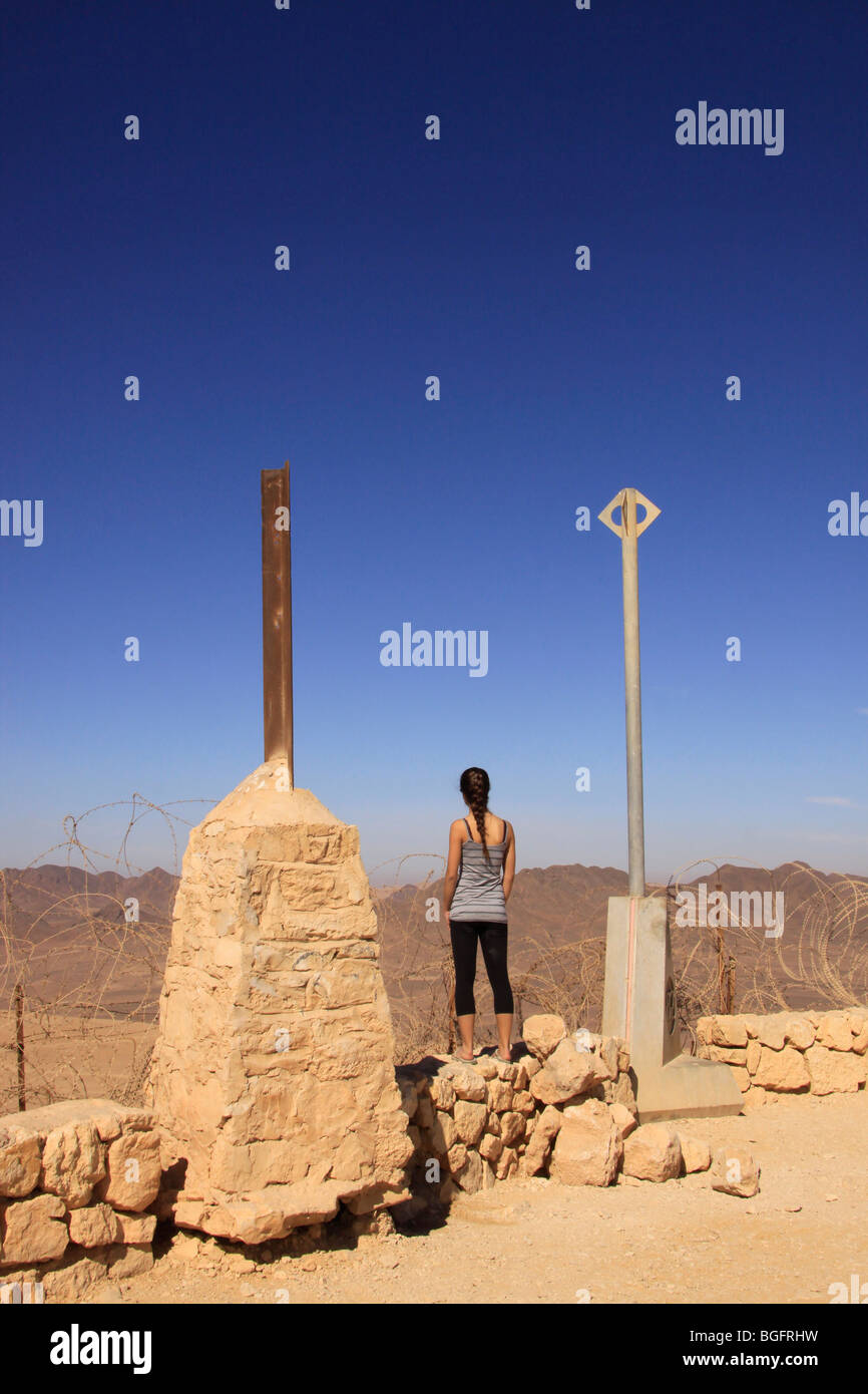Israel, Negev, boundary stones on the Egyptian-Israeli border - Stock Image