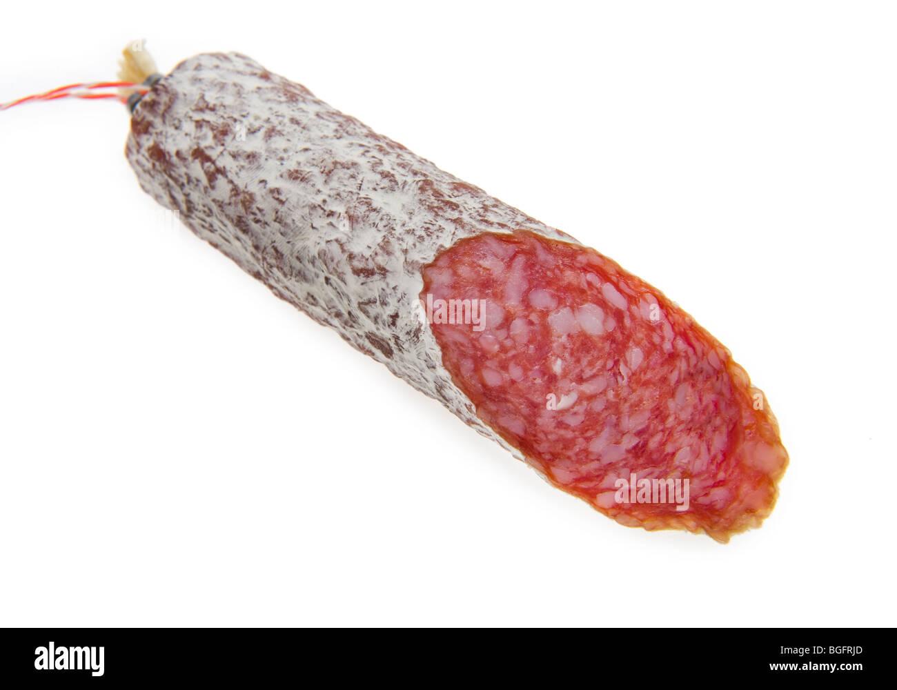 italian italy salami sausage cured meat pork chorizo salami sausage spain  cookery, cooking, health, healthy, orga - Stock Image
