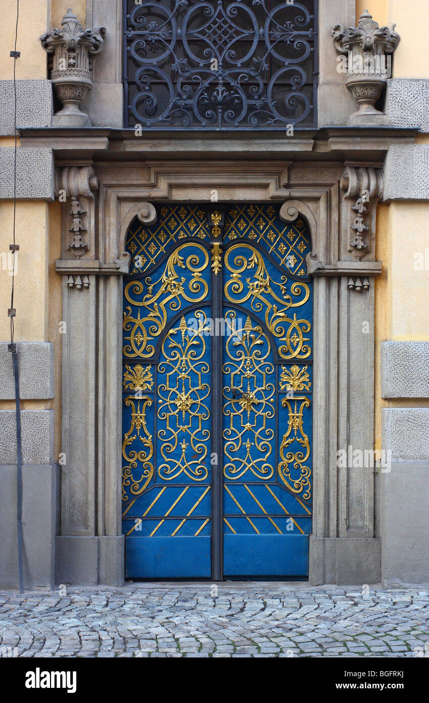 Barocco adorned door  Wroclaw University Aula Leopoldina - Stock Image