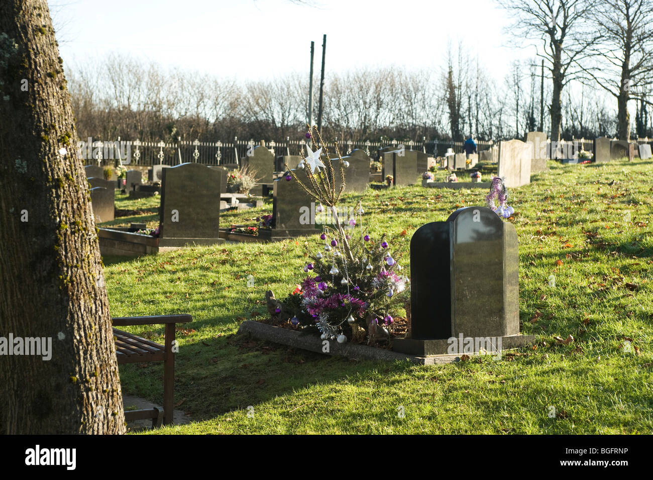 grave decorated with a xmas tree stock image