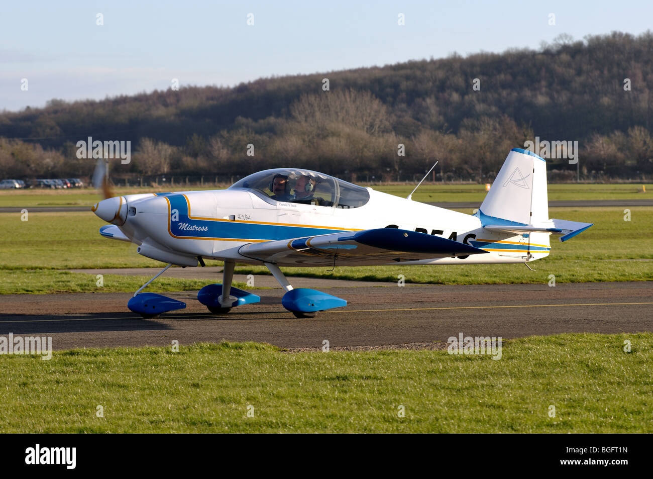 Van`s RV6A aircraft G-REAS taxiing at Wellesbourne Airfield, Warwickshire, UK - Stock Image
