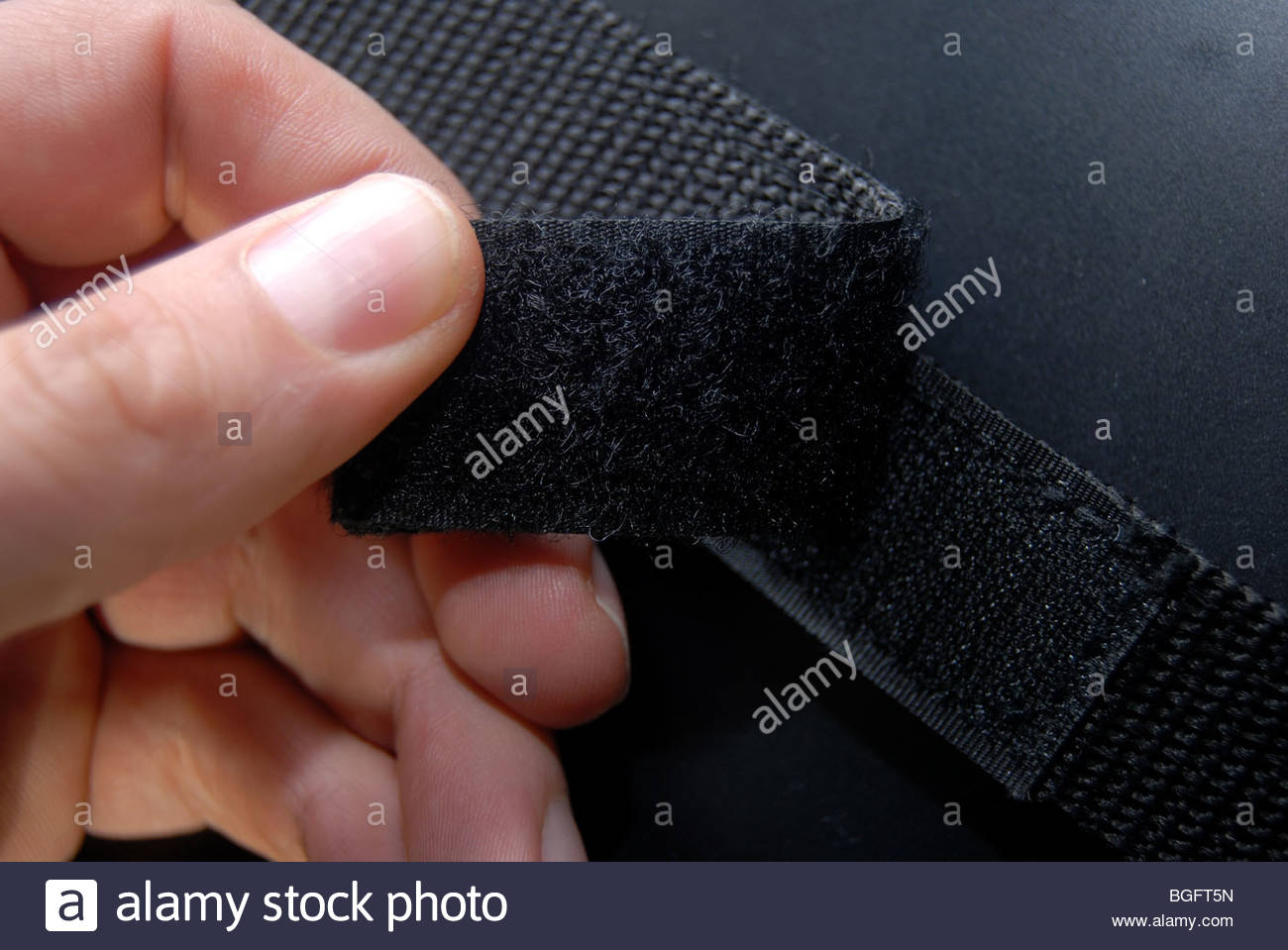 Velcro fastener in a laptop bag. - Stock Image