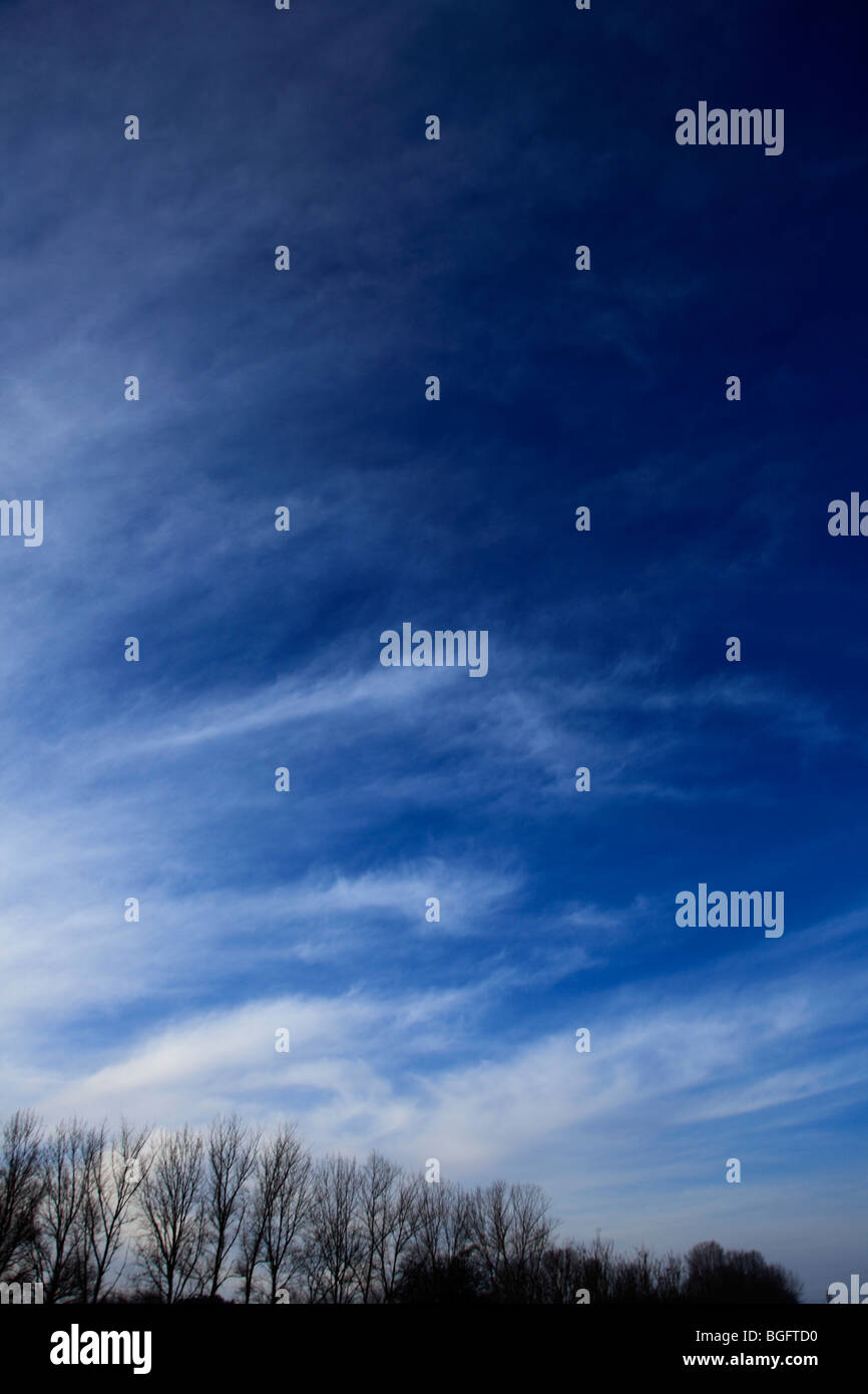 White Whispy High Cirrus Fibratus clouds in deep blue sky - Stock Image