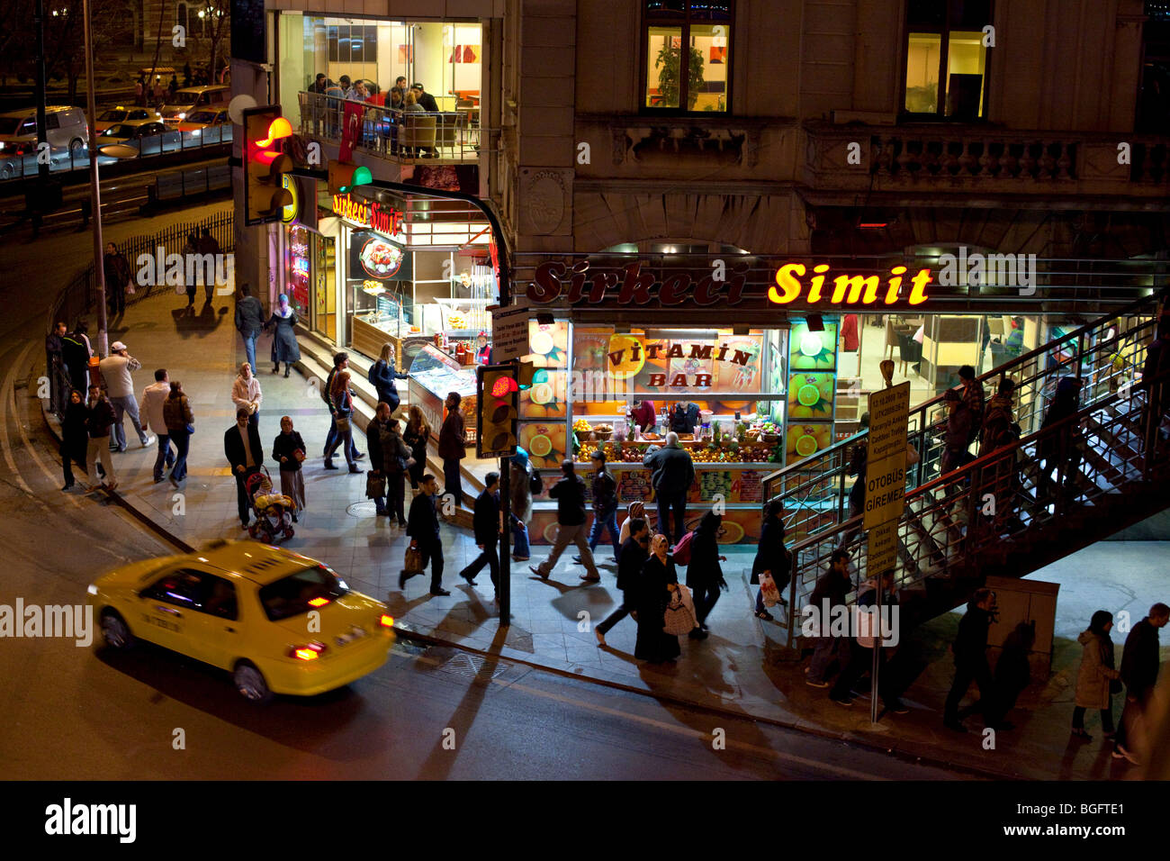 A busy street at night in Eminonu district, Istanbul, Turkey Stock Photo