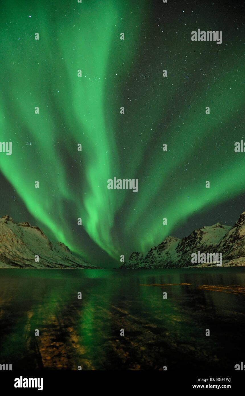 Northern Lights (Aurora Borealis) in Northern Norway - Stock Image