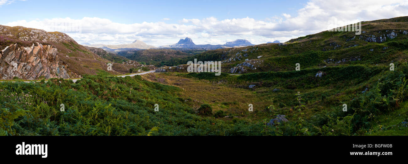 A panoramic view looking southeast from Clashnessie, Highland, Scotland towards Canisp, Suilven and Cal Mor - Stock Image