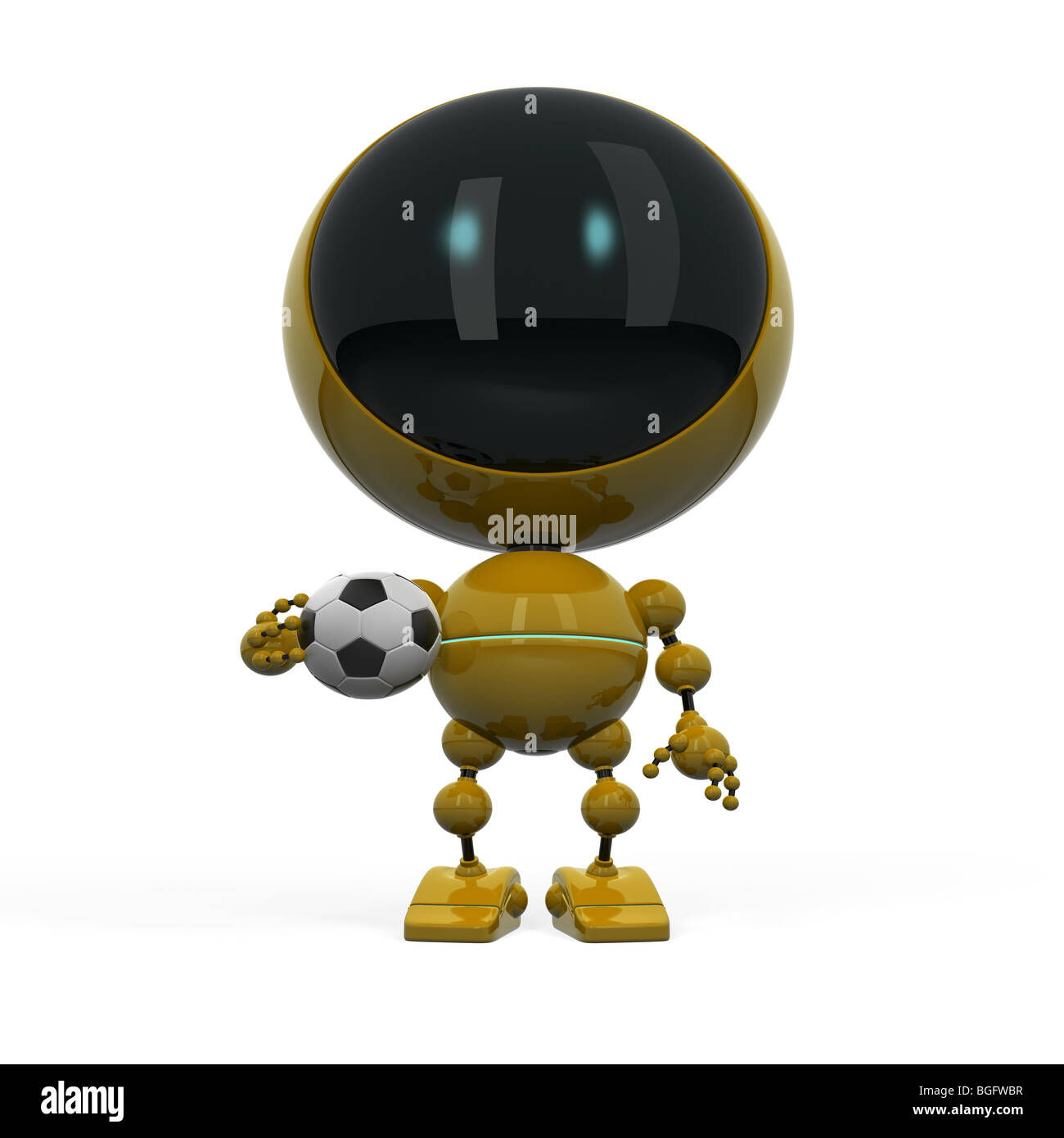 Robotic football fan with ball - Stock Image