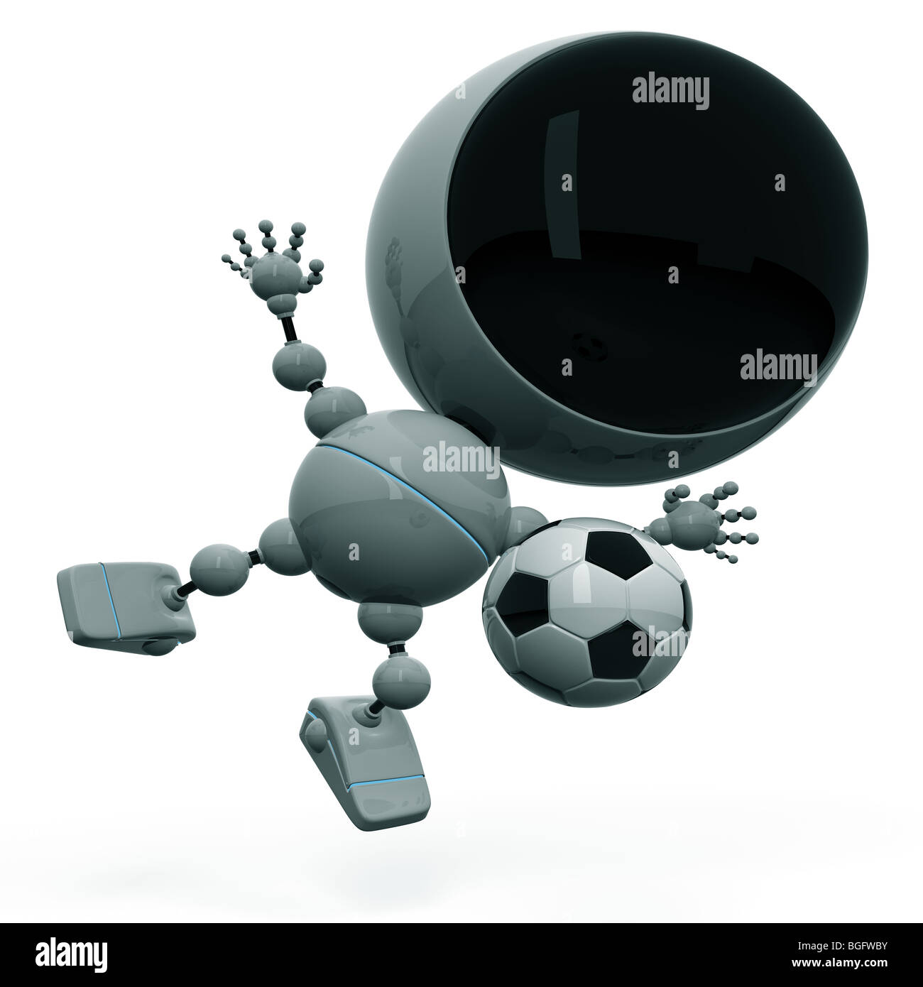 Footballer beats the ball Stock Photo
