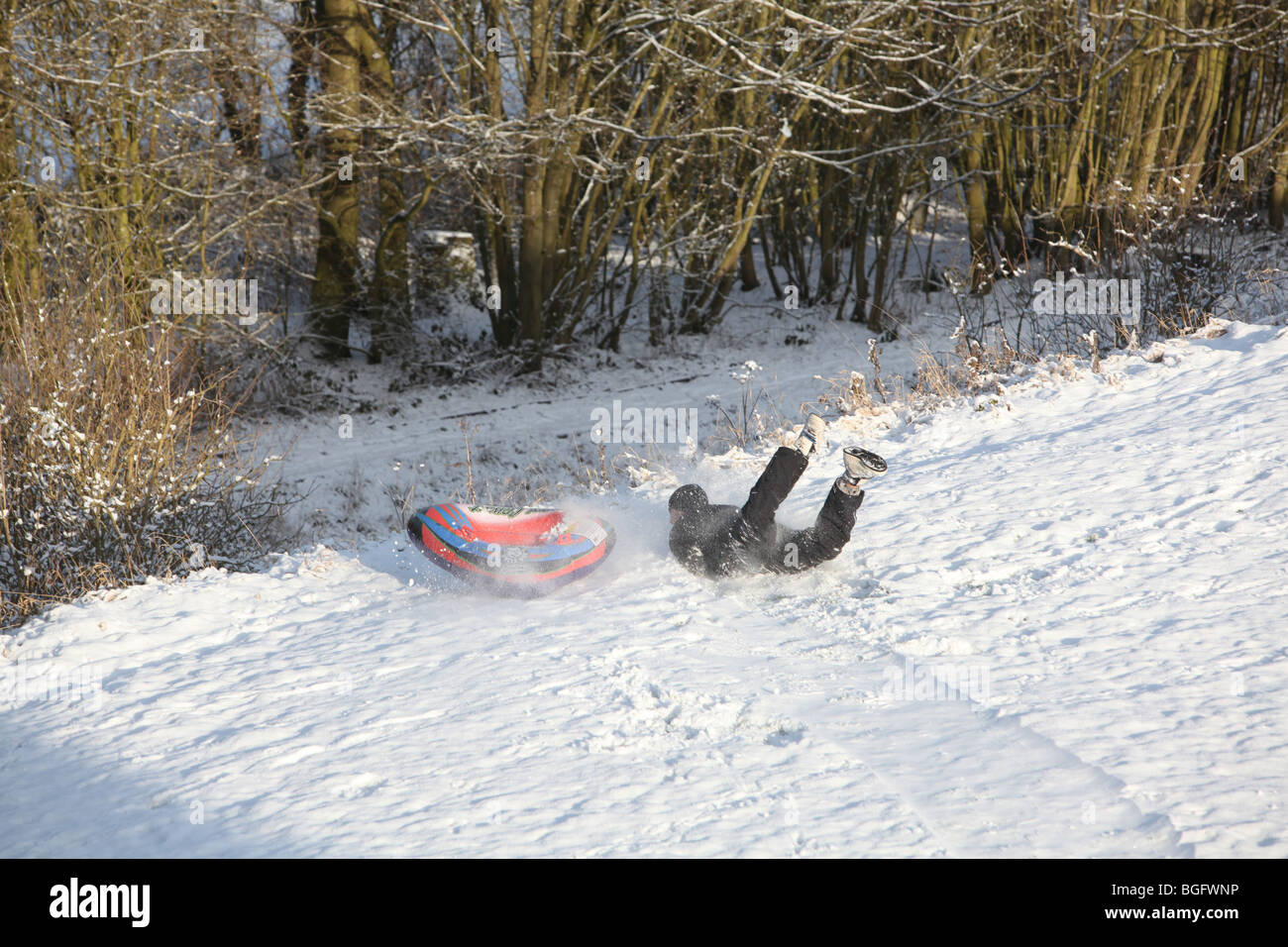 A man falls from an inflatable sledge in snow on the edge of a steep drop in the big freeze of 2010 - Stock Image