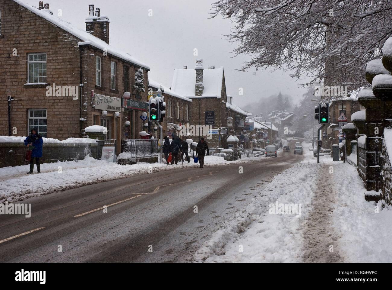 High Street Uppermill, Saddleworth, Oldham, Lancashire UK - Stock Image