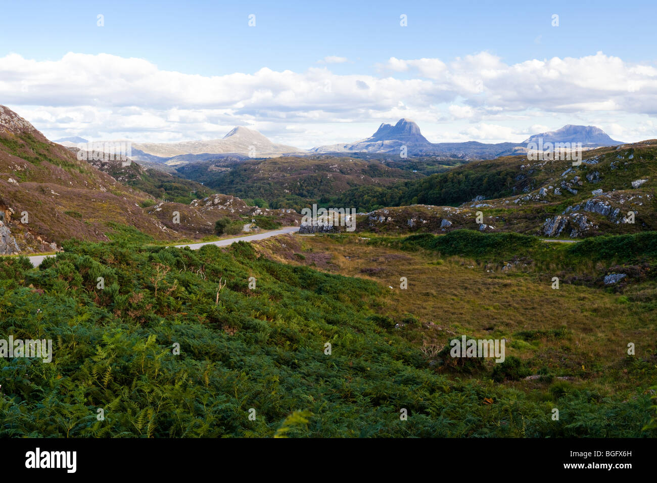A view looking southeast from Clashnessie, Highland, Scotland towards Canisp, Suilven and Cal Mor Stock Photo