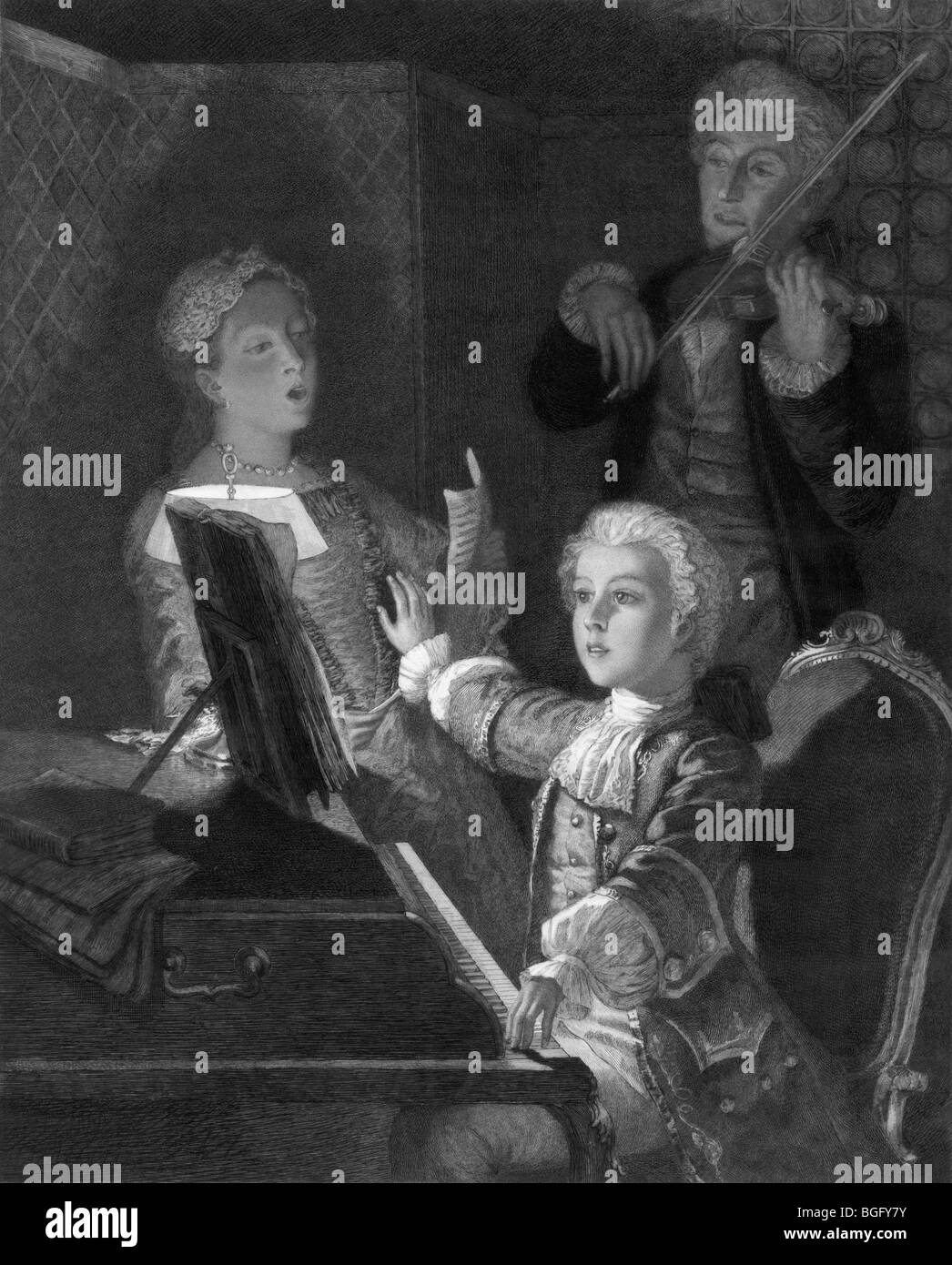 Portrait c1897 of a young Wolfgang Amadeus Mozart rehearsing his XIIth mass. Mozart (1756 - 1791) was a child prodigy. - Stock Image