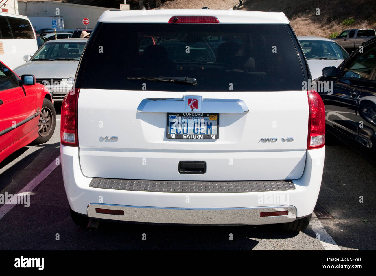 Rear View Of White California Eco Gem Personalized License Plate