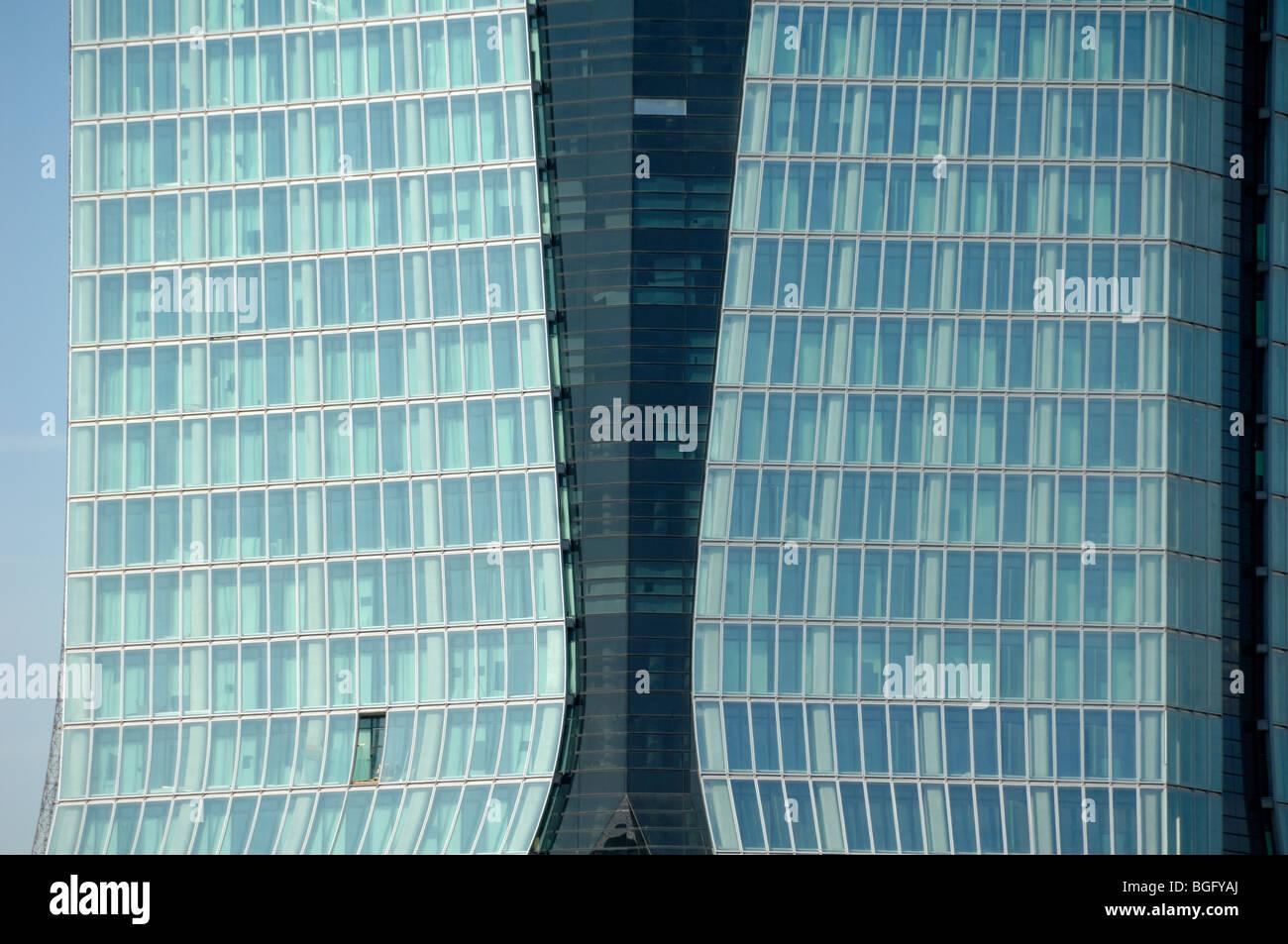 Glass & Steel Facade of the CGM Office Block Tower by Zaha Hadid, La Joliette Docks, Marseille or Marseilles, - Stock Image