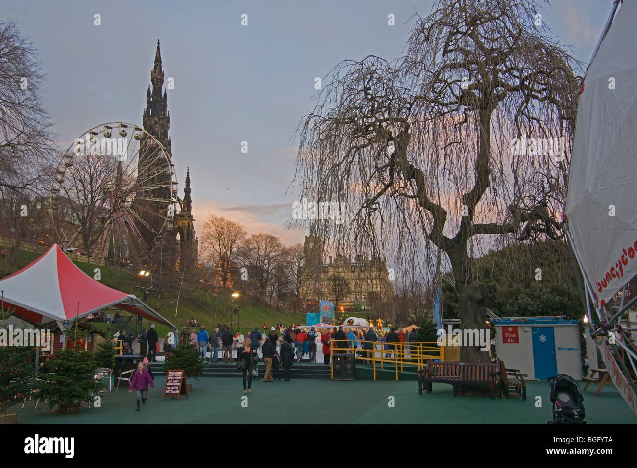 Edinburgh, sunset, ice rink, Princes Street Gardens, Scotland, November, 2009 Stock Photo