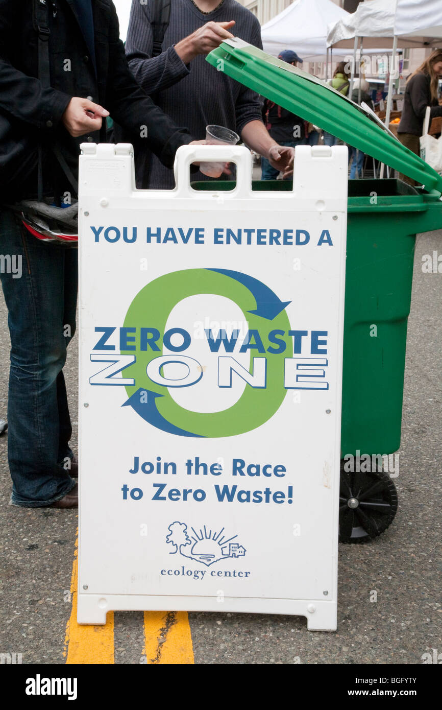 People Dumping Rubbish by a Zero Waste Zone Sign at Ecology Center's Berkeley Farmers' Market - Stock Image