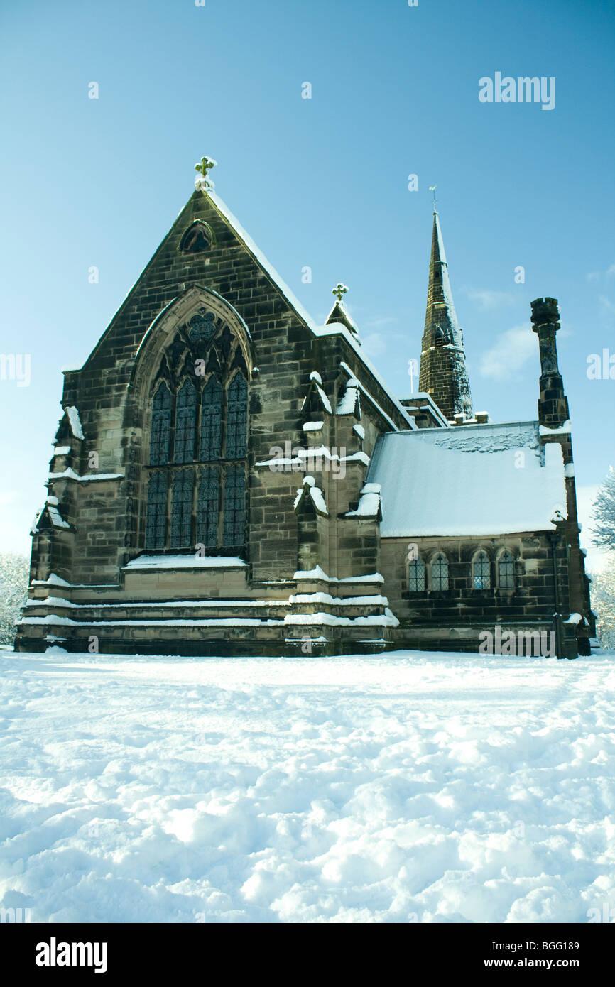 Winwick Church in the Snow - Stock Image