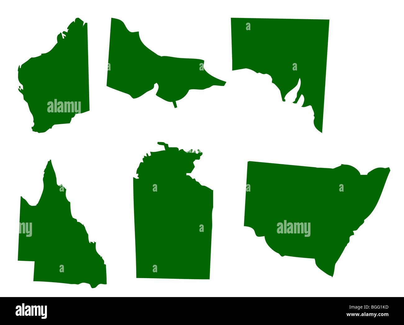 Map of six states of Australia, isolated on white background. - Stock Image