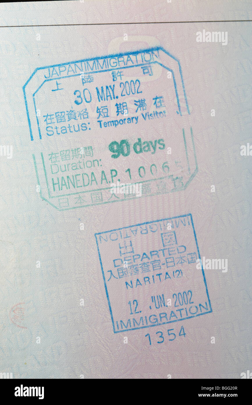 eu irish passport stamped with entry and exit visas for japan immigration haneda and narita airports - Stock Image