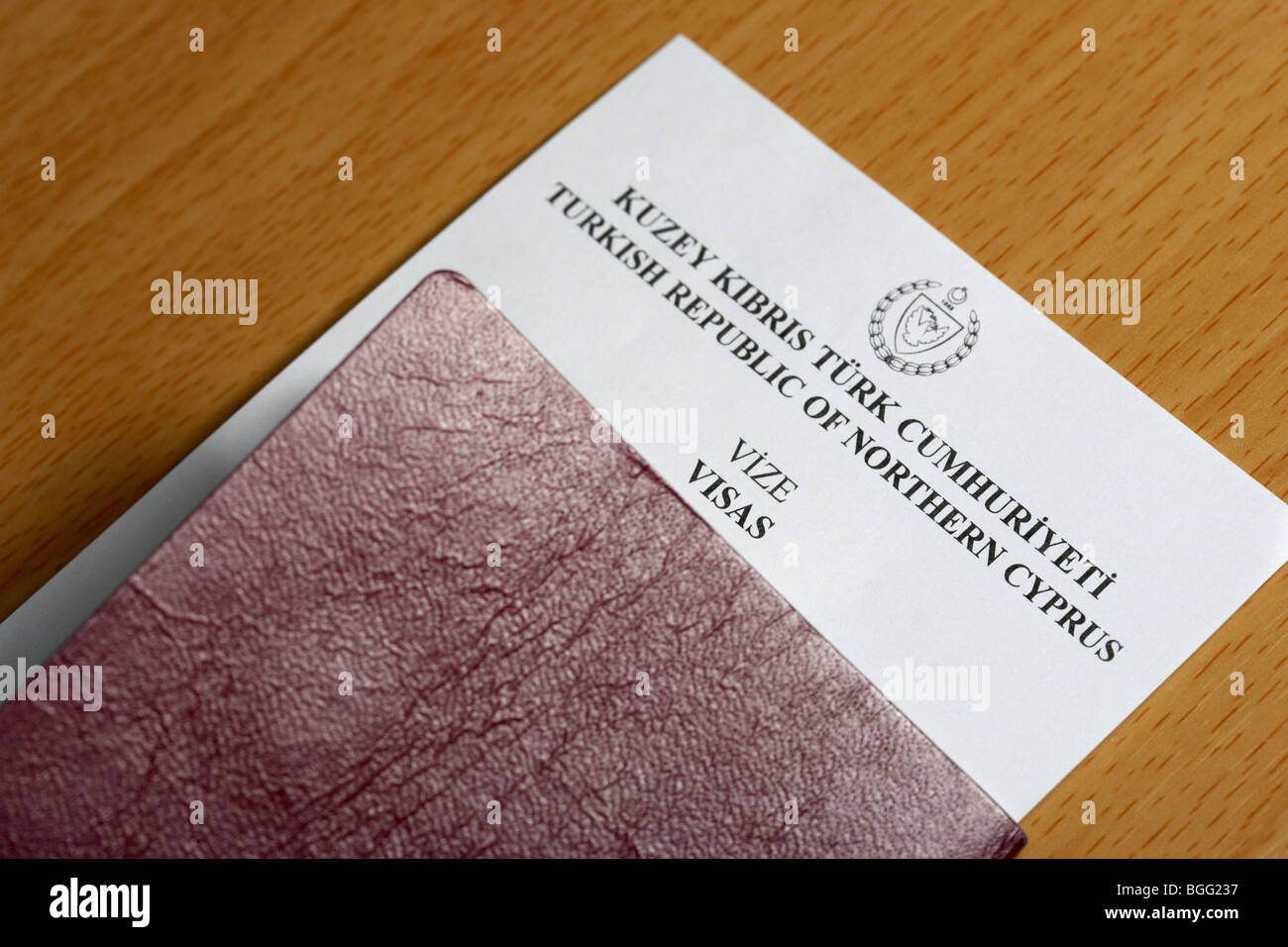 page supplied as entry and exit visa by the turkish republic of northern cyprus - Stock Image