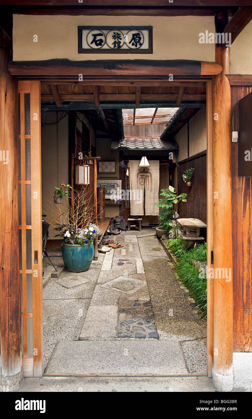 Japan Exterior Outside Ryokan Japanese Traditional Style Hotel Stock