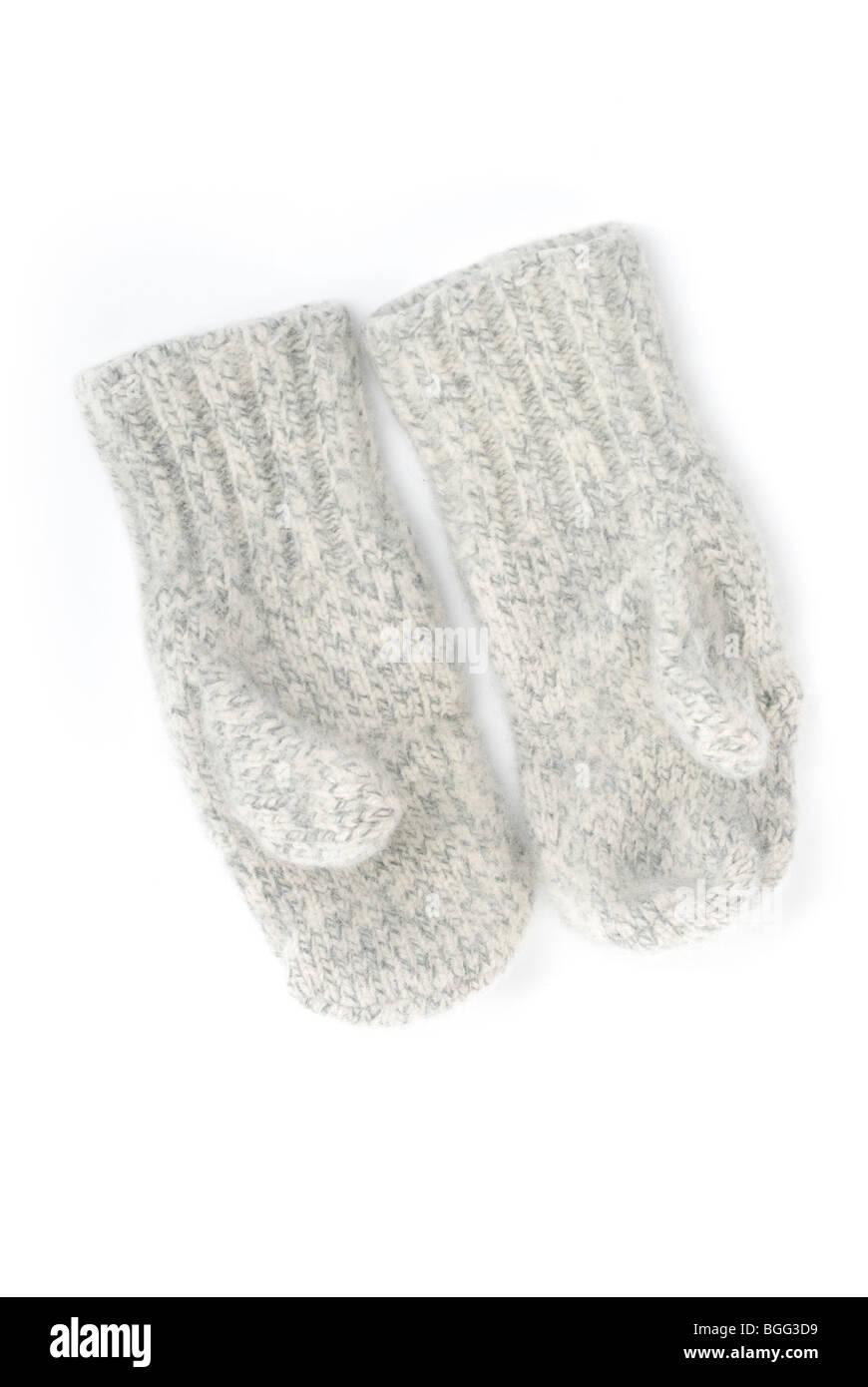 Warm wool mittens - Stock Image