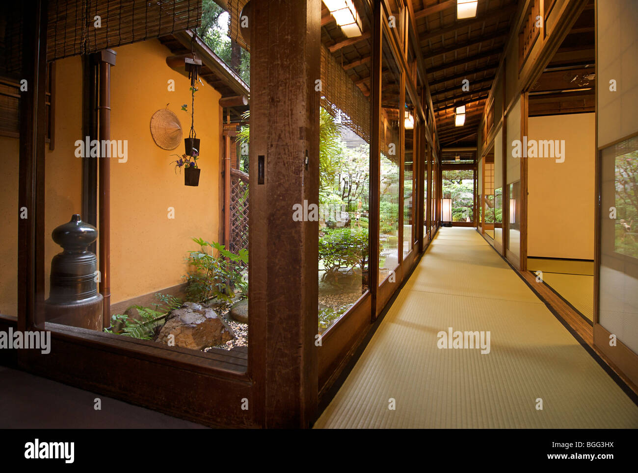 Yoshikawa ryokan. Traditional Japanese style guest house. Kyoto, Japan - Stock Image