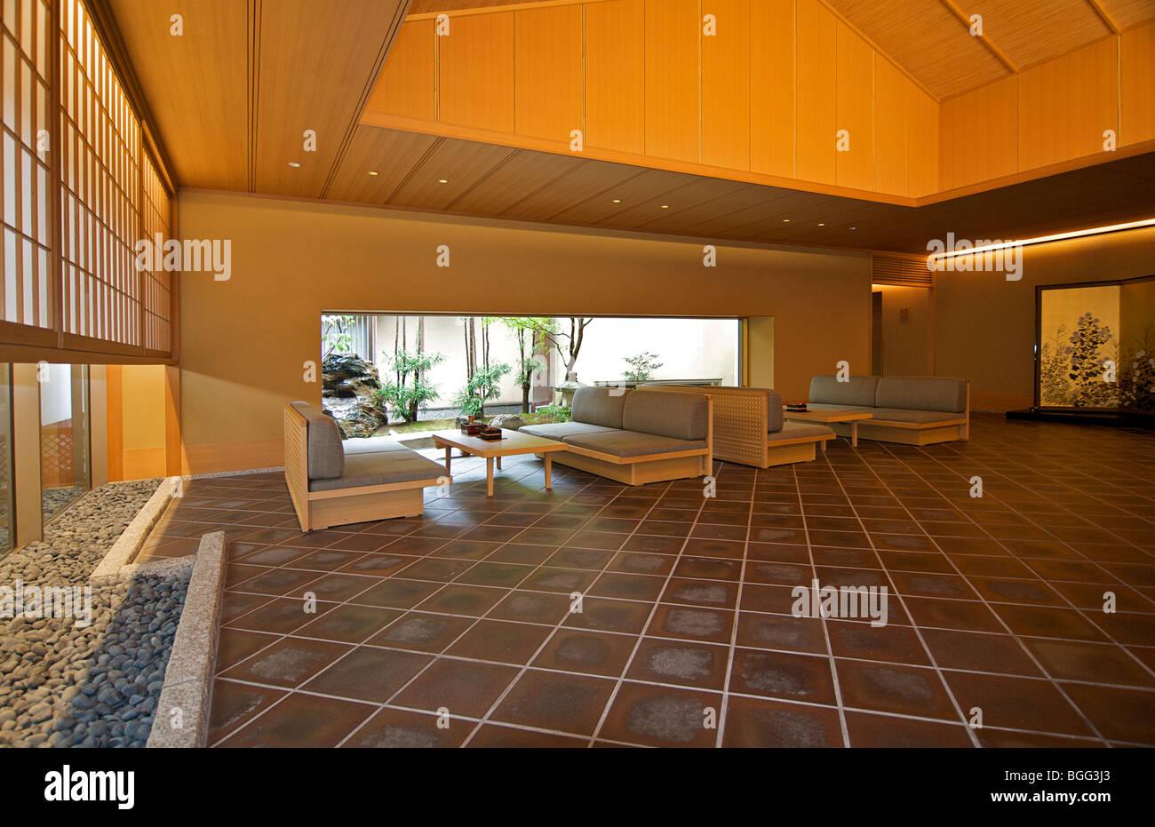 Gion Hatanaka. Japanese ryokan. Reception area.  A traditional style guest house. Kyoto, Japan - Stock Image