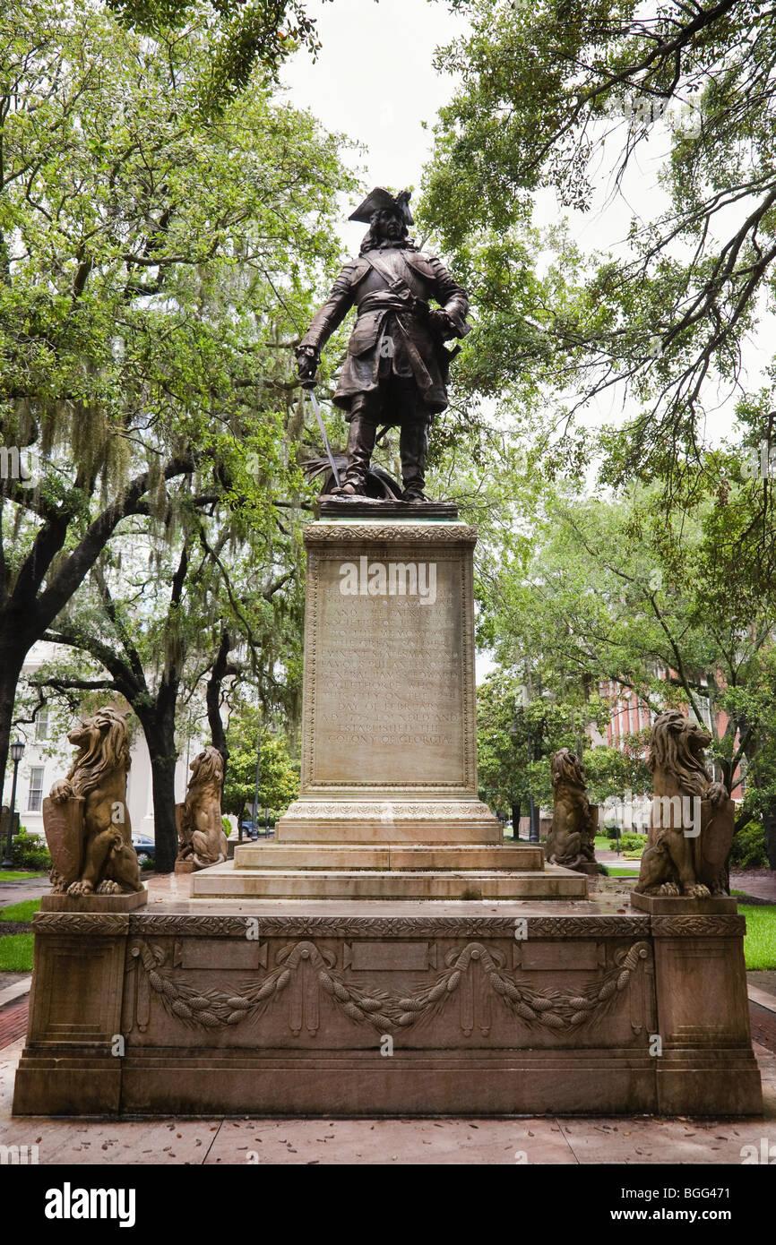 Oglethorpe Statue, Savannah - Stock Image