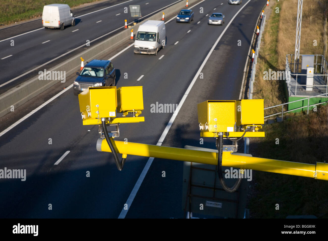 Average speed camera on the M11 motorway - Stock Image